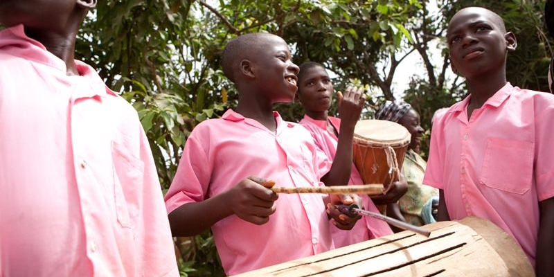 shine on sierra leone students drumming school uniforms